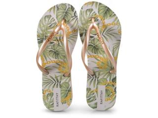 Chinelo Feminino Rafitthy 222.81701 Fashion Leaves Dourado - Tamanho Médio