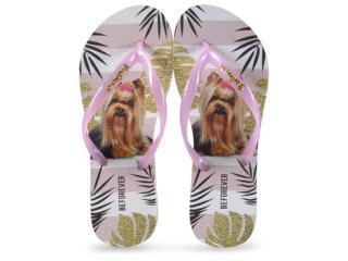 Chinelo Feminino Rafitthy 110.91701 be Forever York Tropical Glitter Rosa - Tamanho Médio
