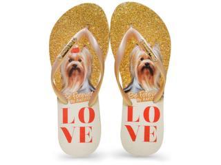 Chinelo Feminino Rafitthy 110.71702 York Love Glitter  Bege/dourado - Tamanho Médio