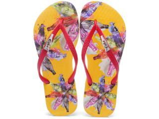 Chinelo Feminino Coca-cola Shoes Cc0349 Amarelo/vermelho - Tamanho Médio