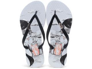 Chinelo Feminino Coca-cola Shoes Cc0345 Branco/preto - Tamanho Médio