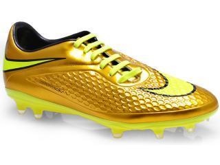 Chuteira Masculina Nike 677585-907 Hypervenom Phelon Prem fg Ouro/limão - Tamanho Médio