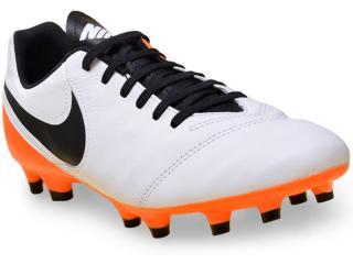 Chuteira Masculina Nike 819213-108 Tiempo Genio ii Leather fg  Branco/preto/laranja - Tamanho Médio