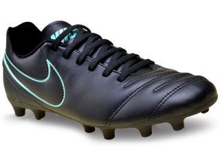 Chuteira Masculina Nike 819233-004 Tiempo Rio Iii Firm Ground  Preto/turquesa - Tamanho Médio
