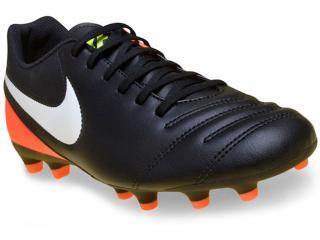 464497186 Chuteira Masculina Nike 819233-018 Tiempo Rio Iii Ground Preto/laranja
