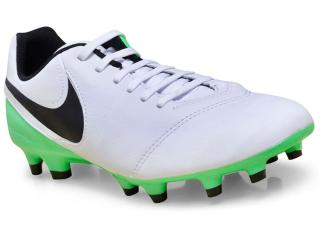 Chuteira Masculina Nike 819213-103 Tiempo Genio Leather ii Branco/verde/preto - Tamanho Médio