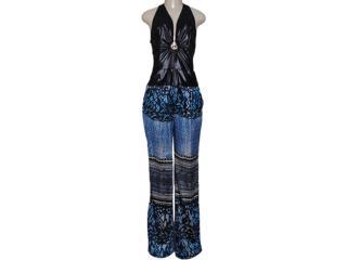 Macacão Feminino Moikana 13604 Azul/preto - Tamanho Médio