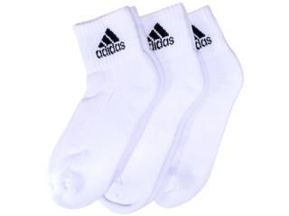Meia Masc Infantil Adidas M33755 Kit c/ 3  Ankle Mid Kids  Branco - Tamanho Médio