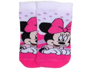 Meia Fem Infantil Lupo 2004 19 Disney Branco/rosa - Tamanho Médio