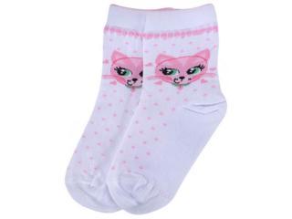 Meia Fem Infantil Lupo 02680 245 1120 Branco/rosa - Tamanho Médio
