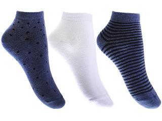 Meia Feminina Lupo 4535 89 Kit/ 3 Azul/branco/azul Listrado - Tamanho Médio