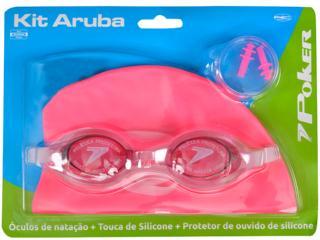 óculos/touca/prot de Ouvido Fem Infantil Poker 13050 Kit Rosa - Tamanho Médio