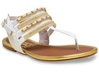 Sandália Feminina Addan Mulher 501 Branco/ouro - Tamanho Médio