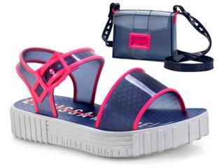 31249b1f3ee14 Sandália Fem Infantil Grendene 21897 21303 Larissa Manoela Fashion Branco  azul rosa