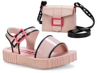 18d4ea4216 Sandália Fem Infantil Grendene 21897 21664 Larissa Manoela Fashion  Rosa preto