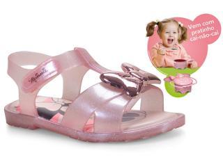 Sandália Fem Infantil Grendene 21843 Minnie Magic Bowl Rosa Gliter - Tamanho Médio