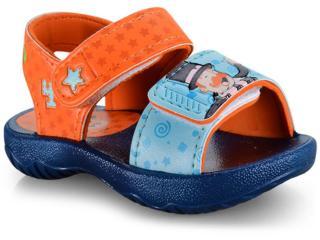 Sandália Masc Infantil Grendene 22173 24803 Bita Nosa Turma Sand Azul/laranja - Tamanho Médio
