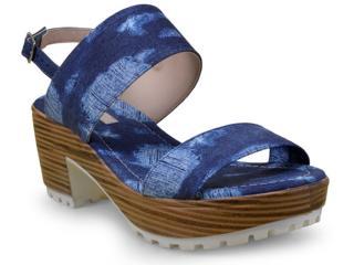 Sandália Feminina Moleca 5266302 Multi Jeans/marinho - Tamanho Médio