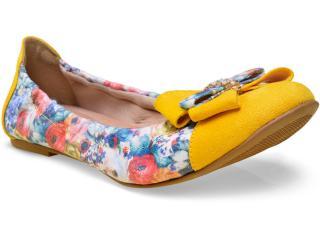 Sapatilha Feminina Della Bella 12028 Floral Amarelo - Tamanho Médio