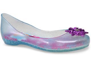 Sapatilha Fem Infantil Grendene 21370 Frozen Azul Gliter Prata/rosa - Tamanho Médio
