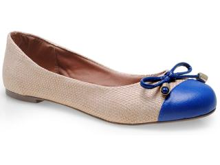 Sapatilha Feminina Lana 3054 Bege/azul - Tamanho Médio