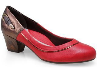 Sapato Feminino Campesi 4074 Vermelho/café - Tamanho Médio