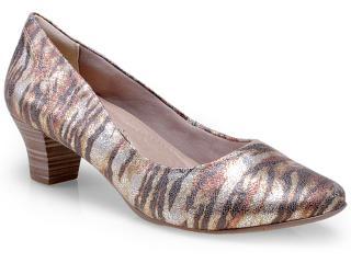 Sapato Feminino Comfortflex 14-95301 Zebra/bronze - Tamanho Médio