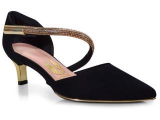 Sapato Feminino Invoice 201.2027d Tamires Preto/ouro - Tamanho Médio