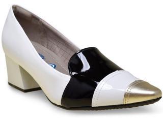 Sapato Feminino Piccadilly 744019 Branco/preto - Tamanho Médio