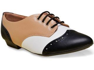 Sapato Feminino Piccadilly 725021 Preto/tan/branco - Tamanho Médio