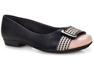Sapato Feminino Piccadilly 251032 Preto/marfim - Tamanho Médio