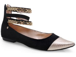 Sapato Feminino Pienza Ex831726 Preto/dourado - Tamanho Médio