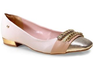 Sapato Feminino Pienza 851906 Off White/ouro - Tamanho Médio