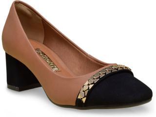 Sapato Feminino Via Marte 16-5603 Camel/preto - Tamanho Médio