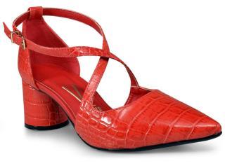 Sapato Feminino Vizzano 1279201 Vermelho Croco - Tamanho Médio