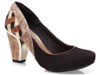Sapato Feminino Tanara 4683 Café/bronze/ouro - Tamanho Médio