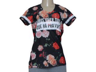 T-shirt Feminino Alto Giro 58762 Preto Floral - Tamanho Médio