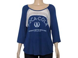 T-shirt Feminino Coca-cola Clothing 343201261 Marinho/off White - Tamanho Médio