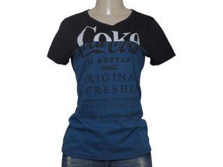 T-shirt Feminino Coca-cola Clothing 343201325 Preto/marinho - Tamanho Médio