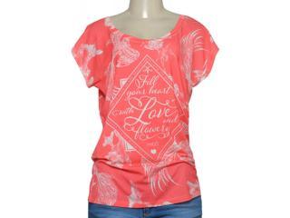 T-shirt Feminino Margo 13066 Estampado Coral/branco - Tamanho Médio