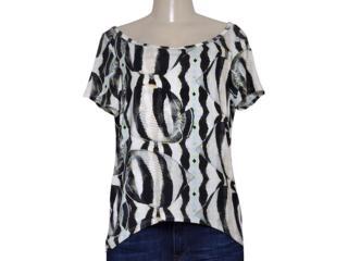 T-shirt Feminino Triton 341401041 Off White Estampado Preto - Tamanho Médio