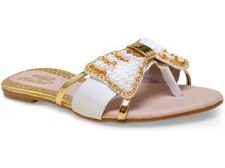 Tamanco Feminino Addan Mulher 673 Branco/ouro - Tamanho Médio
