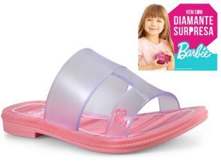 Tamanco Fem Infantil Grendene 21825 21419 Barbie Suprise Rasteiro Rosa Vidro - Tamanho Médio