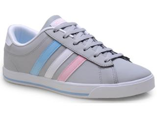 19be2f90feb Tênis Feminino Adidas F38369 se Daily qt lo w Cinza branco