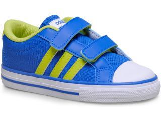 a007096d60c Tênis Masc Infantil Adidas F38736 Vlneo 3 Stripes lo Azul branco limão