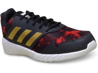 Tênis Masc Infantil Adidas H68408 Quickrun k Preto vermelho dourado branco d7fa2295e2bd1