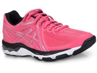 Tênis Feminino Asics B557y.2093 Gel Netburner Ballistic Pink/preto/branco - Tamanho Médio