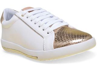Tênis Feminino Comfortflex 16-59402 Branco/dourado - Tamanho Médio