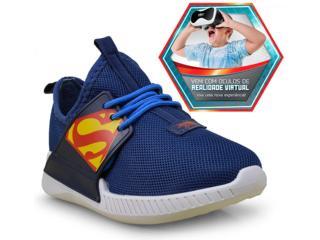 Tênis Masc Infantil Grendene 21739 Liga da Justiça Branco/azul - Tamanho Médio
