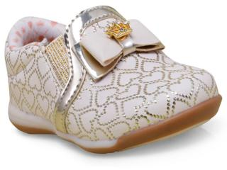 Tênis Fem Infantil Kidy 00907073330 Marfim/ouro - Tamanho Médio